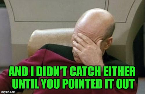 Captain Picard Facepalm Meme | AND I DIDN'T CATCH EITHER UNTIL YOU POINTED IT OUT | image tagged in memes,captain picard facepalm | made w/ Imgflip meme maker