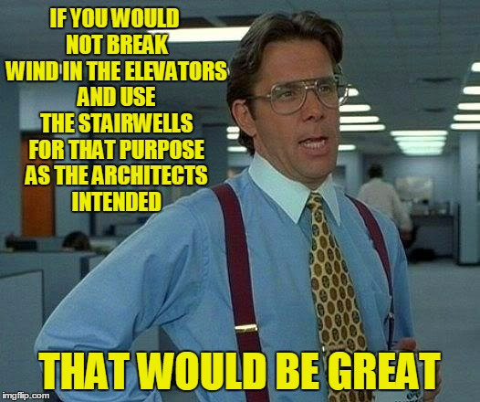 big & open as opposed to small & confined | IF YOU WOULD NOT BREAK WIND IN THE ELEVATORS AND USE THE STAIRWELLS FOR THAT PURPOSE AS THE ARCHITECTS INTENDED THAT WOULD BE GREAT | image tagged in memes,that would be great,farting | made w/ Imgflip meme maker