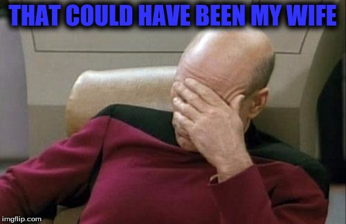 Captain Picard Facepalm Meme | THAT COULD HAVE BEEN MY WIFE | image tagged in memes,captain picard facepalm | made w/ Imgflip meme maker