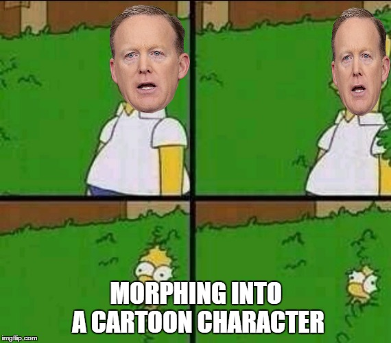 Ladies and Gentlemen:  Mr. Sean Simpson | MORPHING INTO A CARTOON CHARACTER | image tagged in homer bushes,sean spicer | made w/ Imgflip meme maker