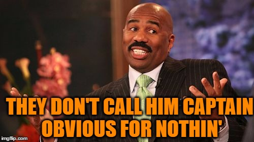 Steve Harvey Meme | THEY DON'T CALL HIM CAPTAIN OBVIOUS FOR NOTHIN' | image tagged in memes,steve harvey | made w/ Imgflip meme maker