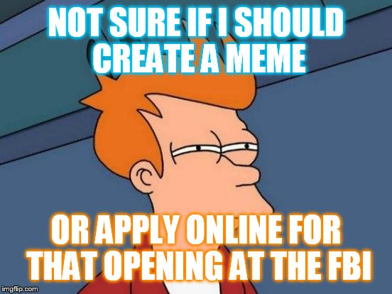 Futurama Fry Meme | NOT SURE IF I SHOULD CREATE A MEME OR APPLY ONLINE FOR THAT OPENING AT THE FBI | image tagged in memes,futurama fry | made w/ Imgflip meme maker