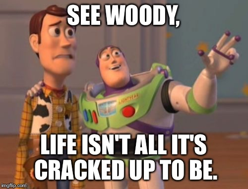 X, X Everywhere Meme | SEE WOODY, LIFE ISN'T ALL IT'S CRACKED UP TO BE. | image tagged in memes,x x everywhere | made w/ Imgflip meme maker