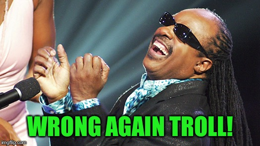 Stevie Wonder Laughing | WRONG AGAIN TROLL! | image tagged in stevie wonder laughing | made w/ Imgflip meme maker