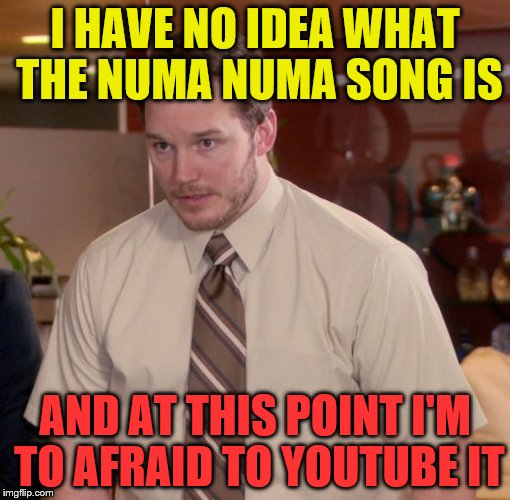 I HAVE NO IDEA WHAT THE NUMA NUMA SONG IS AND AT THIS POINT I'M TO AFRAID TO YOUTUBE IT | made w/ Imgflip meme maker