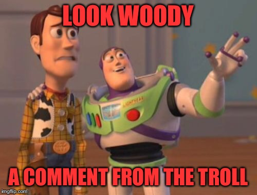 X, X Everywhere Meme | LOOK WOODY A COMMENT FROM THE TROLL | image tagged in memes,x,x everywhere,x x everywhere | made w/ Imgflip meme maker
