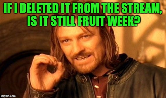 One Does Not Simply Meme | IF I DELETED IT FROM THE STREAM, IS IT STILL FRUIT WEEK? | image tagged in memes,one does not simply | made w/ Imgflip meme maker