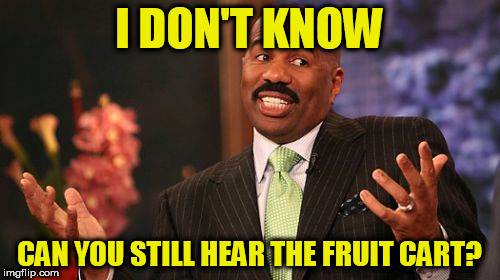 Steve Harvey Meme | I DON'T KNOW CAN YOU STILL HEAR THE FRUIT CART? | image tagged in memes,steve harvey | made w/ Imgflip meme maker
