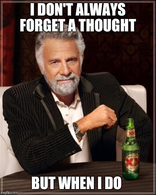 The Most Interesting Man In The World Meme | I DON'T ALWAYS FORGET A THOUGHT BUT WHEN I DO | image tagged in memes,the most interesting man in the world | made w/ Imgflip meme maker