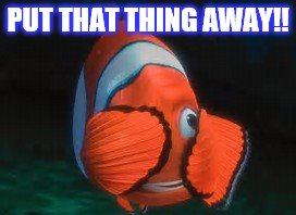 RIGHTEOUS  MARVIN | PUT THAT THING AWAY!! | image tagged in fish,finding nemo,funny | made w/ Imgflip meme maker
