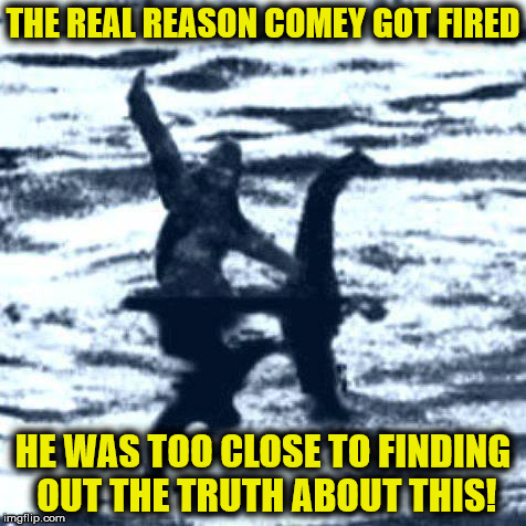 Yes, the Sasquatch/Nessie connection between Trump and Putin was strong, and the FBI was about to nail it! | THE REAL REASON COMEY GOT FIRED HE WAS TOO CLOSE TO FINDING OUT THE TRUTH ABOUT THIS! | image tagged in sasquatch,nessie,donald trump,vladimir putin,james comey,fbi | made w/ Imgflip meme maker