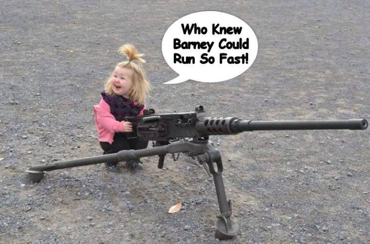 A little girl, a machine gun, and a purple dinosaur. Fun was had by all |  Who knew barney could run so fast! | image tagged in girl,machine gunner,barney the dinosaur,memes | made w/ Imgflip meme maker
