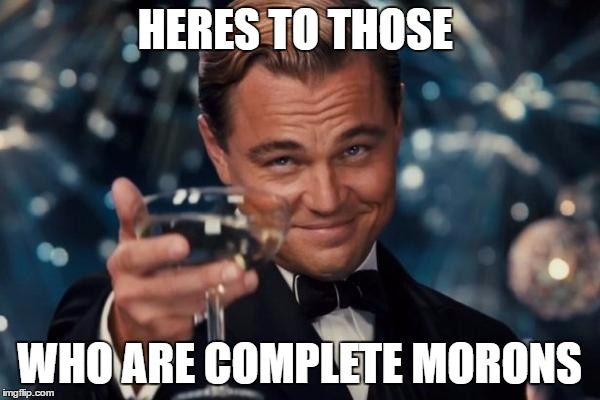 Leonardo Dicaprio Cheers Meme | HERES TO THOSE WHO ARE COMPLETE MORONS | image tagged in memes,leonardo dicaprio cheers | made w/ Imgflip meme maker