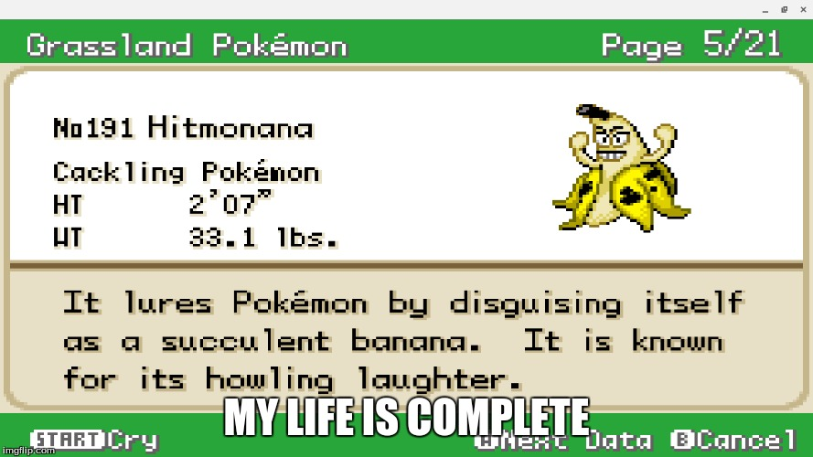 Thank you Pokemon Clover (Pokemon ROM Hack Week By: BananaManPlayz) | MY LIFE IS COMPLETE | image tagged in memes,funny,banana,bananaman,pokemon,pokemon rom hack week | made w/ Imgflip meme maker
