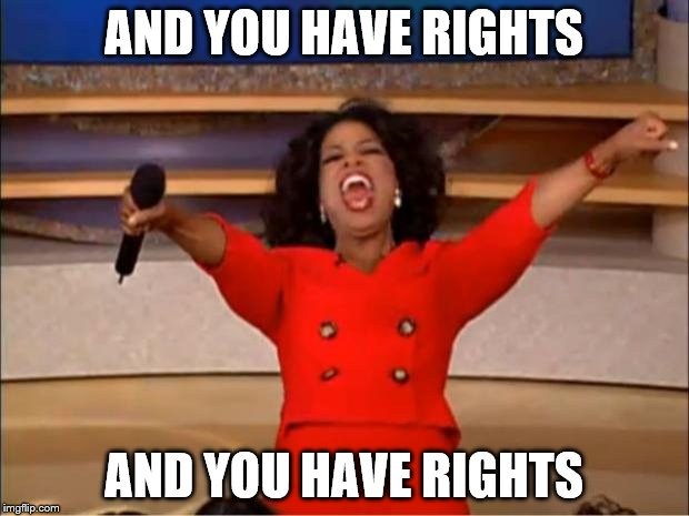 Oprah You Get A Meme | AND YOU HAVE RIGHTS AND YOU HAVE RIGHTS | image tagged in memes,oprah you get a | made w/ Imgflip meme maker