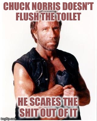 My apologies if this is a repost, but this made me laugh :) | CHUCK NORRIS DOESN'T FLUSH THE TOILET HE SCARES THE SHIT OUT OF IT | image tagged in memes,chuck norris flex,chuck norris,toilet humor | made w/ Imgflip meme maker
