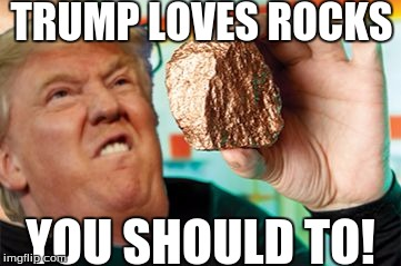 TRUMP LOVES ROCKS YOU SHOULD TO! | image tagged in trump loves rocks | made w/ Imgflip meme maker
