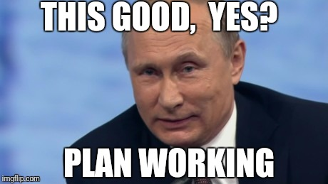 putin | THIS GOOD,  YES? PLAN WORKING | image tagged in putin | made w/ Imgflip meme maker