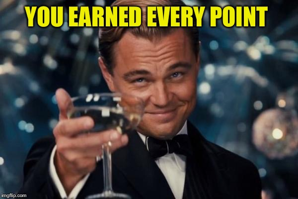 Leonardo Dicaprio Cheers Meme | YOU EARNED EVERY POINT | image tagged in memes,leonardo dicaprio cheers | made w/ Imgflip meme maker
