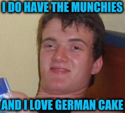10 Guy Meme | I DO HAVE THE MUNCHIES AND I LOVE GERMAN CAKE | image tagged in memes,10 guy | made w/ Imgflip meme maker