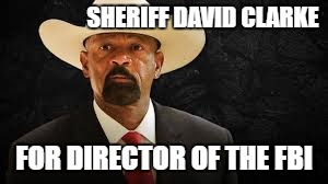 David Clarke for Director of the FBI | SHERIFF DAVID CLARKE FOR DIRECTOR OF THE FBI | image tagged in sheriff clarke,david clarke,director of the fbi,fbi director,fbi,comey | made w/ Imgflip meme maker