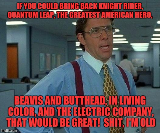 That Would Be Great Meme | IF YOU COULD BRING BACK KNIGHT RIDER, QUANTUM LEAP, THE GREATEST AMERICAN HERO, BEAVIS AND BUTTHEAD, IN LIVING COLOR, AND THE ELECTRIC COMPA | image tagged in memes,that would be great | made w/ Imgflip meme maker