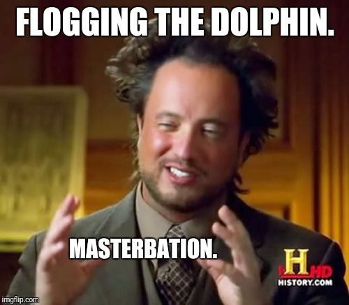 Ancient Aliens Meme | FLOGGING THE DOLPHIN. MASTERBATION. | image tagged in memes,ancient aliens | made w/ Imgflip meme maker