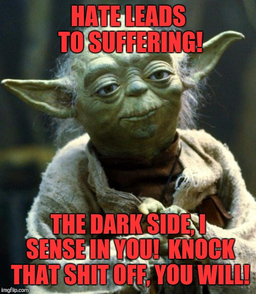 Yoda says..... | HATE LEADS TO SUFFERING! THE DARK SIDE, I SENSE IN YOU!  KNOCK THAT SHIT OFF, YOU WILL! | image tagged in memes,star wars yoda,funny,funny memes,information | made w/ Imgflip meme maker