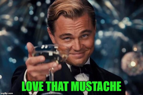 Leonardo Dicaprio Cheers Meme | LOVE THAT MUSTACHE | image tagged in memes,leonardo dicaprio cheers | made w/ Imgflip meme maker