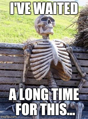 Waiting Skeleton Meme | I'VE WAITED A LONG TIME FOR THIS... | image tagged in memes,waiting skeleton | made w/ Imgflip meme maker