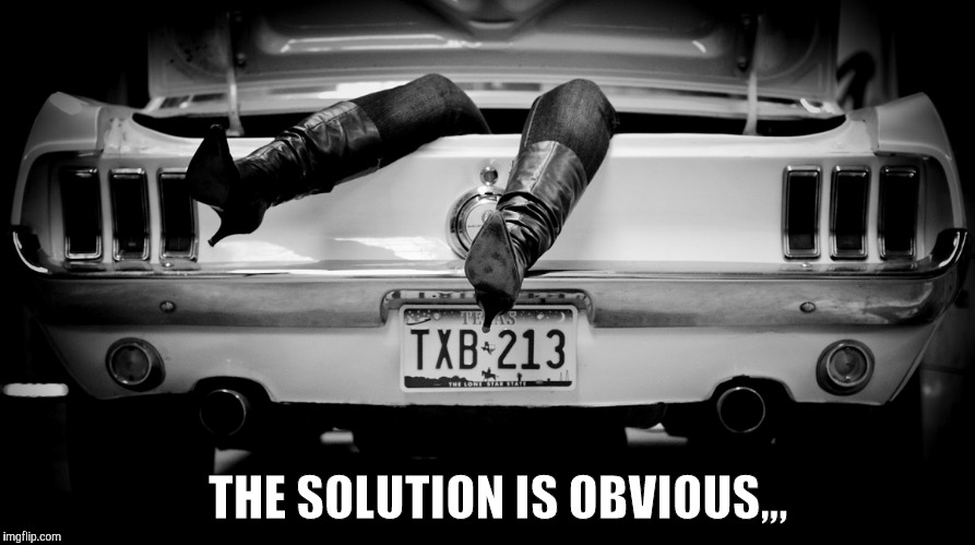 The Hooker in the Trunk of My Car | THE SOLUTION IS OBVIOUS,,, | image tagged in the hooker in the trunk of my car | made w/ Imgflip meme maker