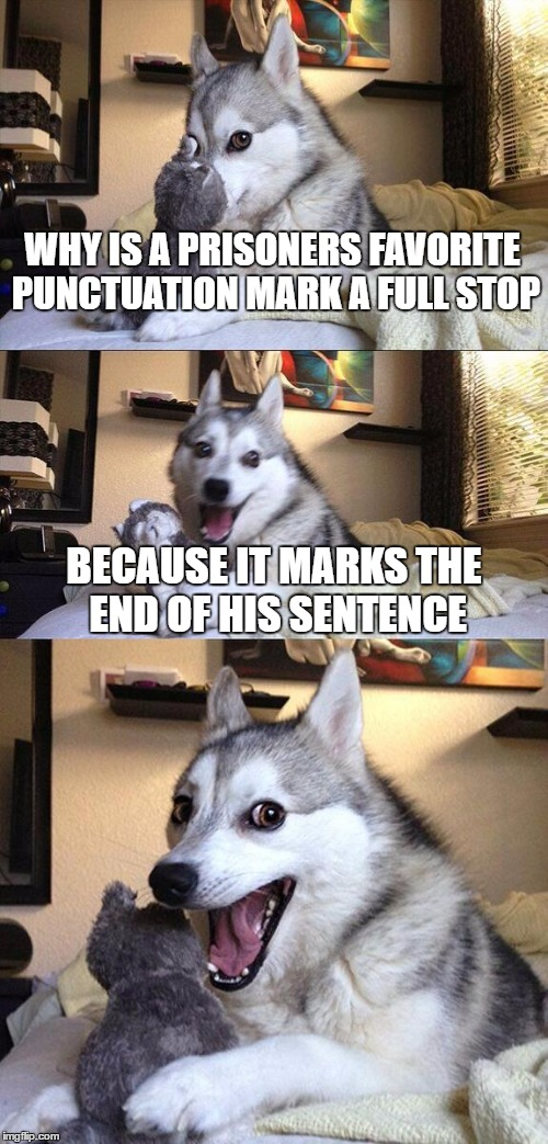 Bad Pun Dog Meme | WHY IS A PRISONERS FAVORITE PUNCTUATION MARK A FULL STOP BECAUSE IT MARKS THE END OF HIS SENTENCE | image tagged in memes,bad pun dog,funny memes,dogs,funny animals,funny | made w/ Imgflip meme maker
