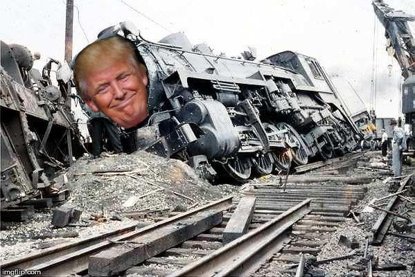 Image result for trump train derailed cartoon