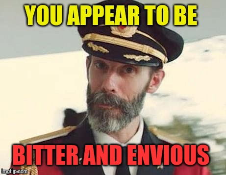 Captain Obvious | YOU APPEAR TO BE BITTER AND ENVIOUS | image tagged in captain obvious | made w/ Imgflip meme maker