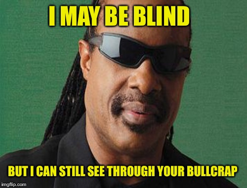 I MAY BE BLIND BUT I CAN STILL SEE THROUGH YOUR BULLCRAP | made w/ Imgflip meme maker