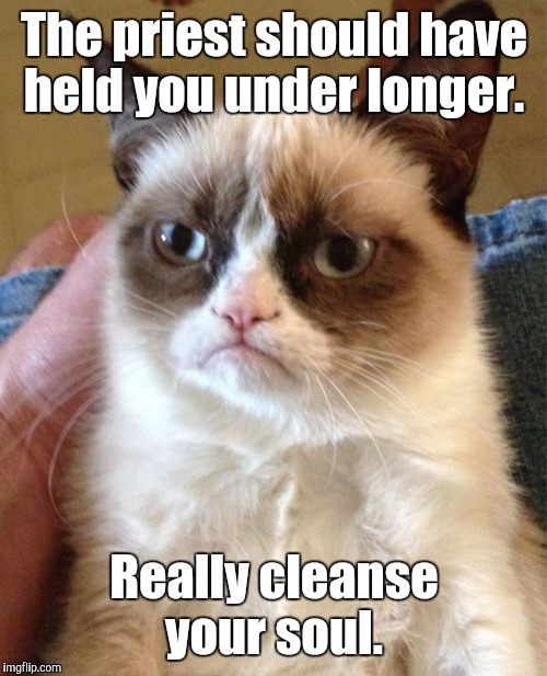 Grumpy Cat Meme | The priest should have held you under longer. Really cleanse your soul. | image tagged in memes,grumpy cat | made w/ Imgflip meme maker
