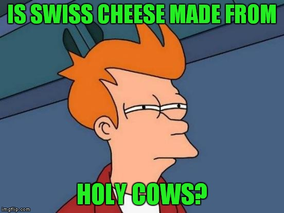 Futurama Fry Meme | IS SWISS CHEESE MADE FROM HOLY COWS? | image tagged in memes,futurama fry | made w/ Imgflip meme maker