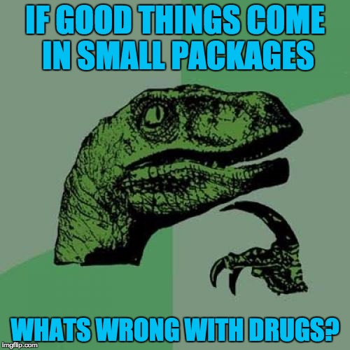 small packages....Good? | IF GOOD THINGS COME IN SMALL PACKAGES WHATS WRONG WITH DRUGS? | image tagged in memes,philosoraptor,small packages,don't do drugs | made w/ Imgflip meme maker