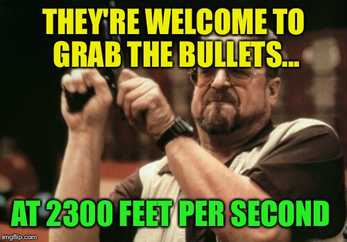 Am I The Only One Around Here Meme | THEY'RE WELCOME TO GRAB THE BULLETS... AT 2300 FEET PER SECOND | image tagged in memes,am i the only one around here | made w/ Imgflip meme maker