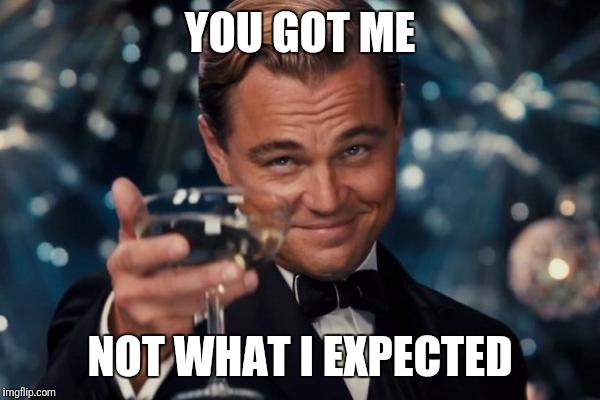 Leonardo Dicaprio Cheers Meme | YOU GOT ME NOT WHAT I EXPECTED | image tagged in memes,leonardo dicaprio cheers | made w/ Imgflip meme maker