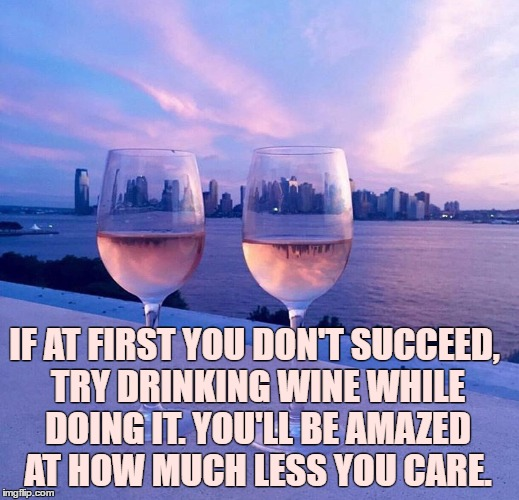 IF AT FIRST YOU DON'T SUCCEED, TRY DRINKING WINE WHILE DOING IT. YOU'LL BE AMAZED AT HOW MUCH LESS YOU CARE. | image tagged in wine,succeed,funny,funny memes | made w/ Imgflip meme maker