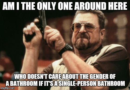 Am I The Only One Around Here Meme | AM I THE ONLY ONE AROUND HERE WHO DOESN'T CARE ABOUT THE GENDER OF A BATHROOM IF IT'S A SINGLE-PERSON BATHROOM | image tagged in memes,am i the only one around here,AdviceAnimals | made w/ Imgflip meme maker