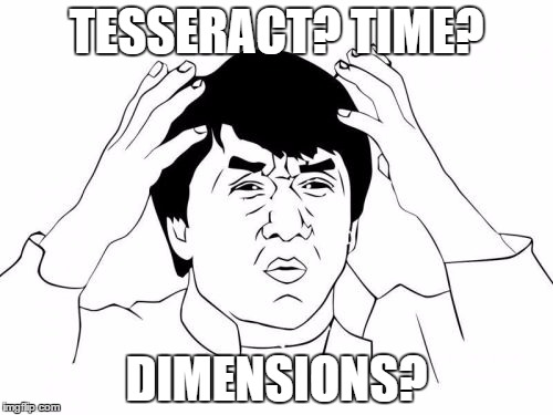 Jackie Chan WTF Meme | TESSERACT? TIME? DIMENSIONS? | image tagged in memes,jackie chan wtf | made w/ Imgflip meme maker