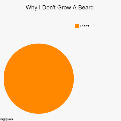 Why I Don't Grow A Beard | Why I Don't Grow A Beard | I can't | image tagged in funny,pie charts,beard,memes,funny memes,hair | made w/ Imgflip pie chart maker