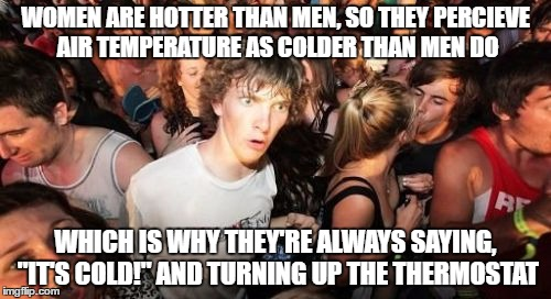 "At least, *I* think women are hotter than men... | WOMEN ARE HOTTER THAN MEN, SO THEY PERCIEVE AIR TEMPERATURE AS COLDER THAN MEN DO WHICH IS WHY THEY'RE ALWAYS SAYING, ""IT'S COLD!"" AND TURNI 