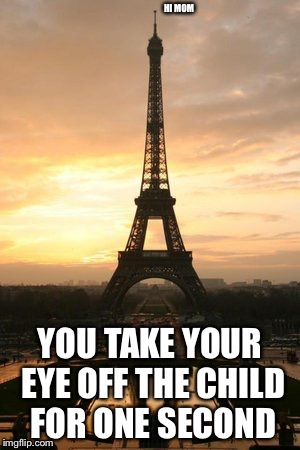 Saluting all mothers...  | HI MOM YOU TAKE YOUR EYE OFF THE CHILD FOR ONE SECOND | image tagged in eiffel tower | made w/ Imgflip meme maker