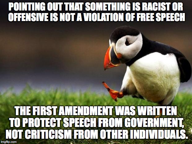 Unpopular Opinion Puffin Meme | POINTING OUT THAT SOMETHING IS RACIST OR OFFENSIVE IS NOT A VIOLATION OF FREE SPEECH THE FIRST AMENDMENT WAS WRITTEN TO PROTECT SPEECH FROM  | image tagged in memes,unpopular opinion puffin,free speech,political correctness,offended | made w/ Imgflip meme maker