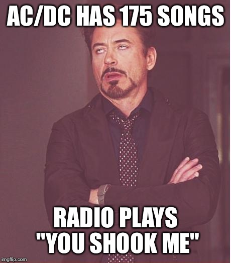 "Face You Make Robert Downey Jr Meme | AC/DC HAS 175 SONGS RADIO PLAYS ""YOU SHOOK ME"" 
