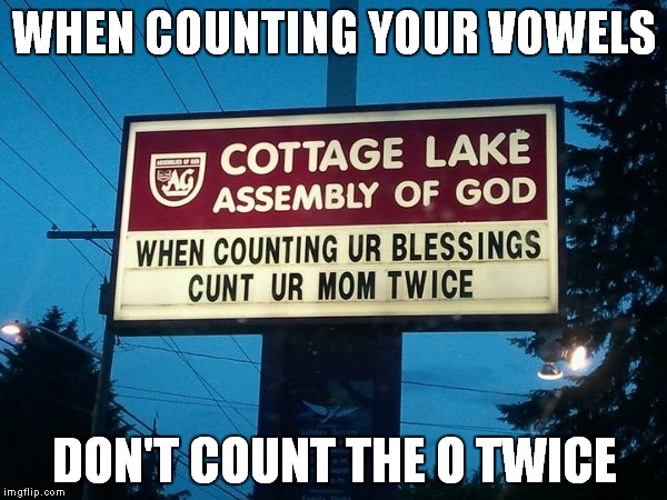 No excuse...  | WHEN COUNTING YOUR VOWELS DON'T COUNT THE O TWICE | image tagged in mother's day,happy mother's day | made w/ Imgflip meme maker