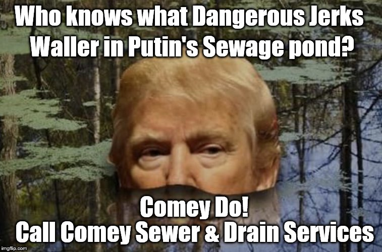 Who knows what Dangerous Jerks Waller in Putin's Sewage pond? Comey Do! Call Comey Sewer & Drain Services | image tagged in donald's cesspool | made w/ Imgflip meme maker